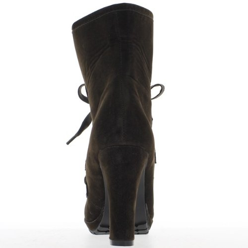 Caviglia stivali alti marrone donna tacchi 10cm e 2cm piattaforma