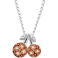 Finecraft Teeny Tiny Cherry Pendant Necklace with Champagne Diamonds in 14K Rose Gold-Plated Sterling Silver