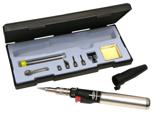Soldering Iron Self Igniting (Blazer SI-100CR Excalibur Multi-Purpose Butane Torch and Hot Air Soldering Kit)