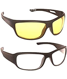 f3a79838bd Hipe Day and Night Vision Goggles for Riding Bikes Combo Pack of Driving  Sunglasses for Men