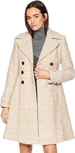 Ivanka Trump Women's Double Breasted Button Boucle Wool Coat Taupe Melange 2 14