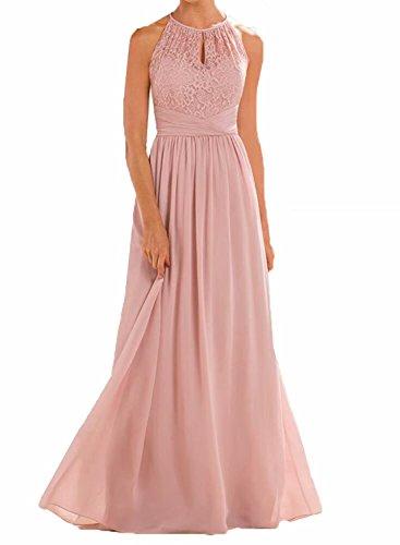 - TTdamai High Neckline Halter Lace Bridesmaid Dresses A-line Chiffon Floor-Length Wedding Party Prom Dresses US12 Size