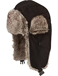 Sakkas Unisex Weatherproof Nylon Faux Fur Lined Winter Earflap Hat
