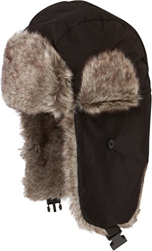 JAFurNylon71891J Sakkas Unisex Weatherproof Nylon Faux Fur Lined Trooper Hat - Black