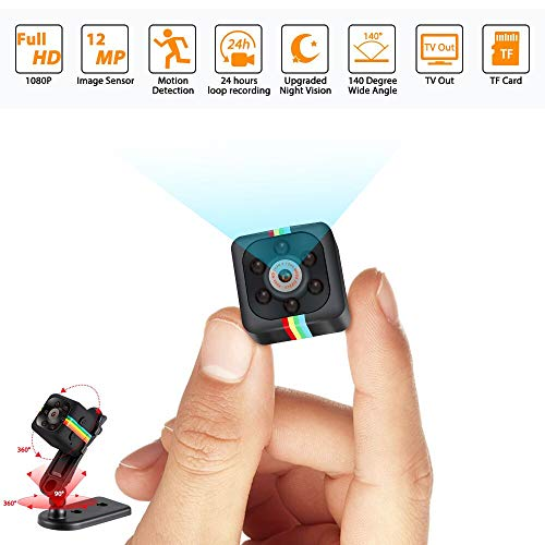 Mini Hidden Camera Spy Cop Cam Wireless with Video Camera Full HD 1080P Night Vision Motion Detection Support SD Card Small Surveillance Nanny Cam for Home Car Drone Office and Sports Outdoor