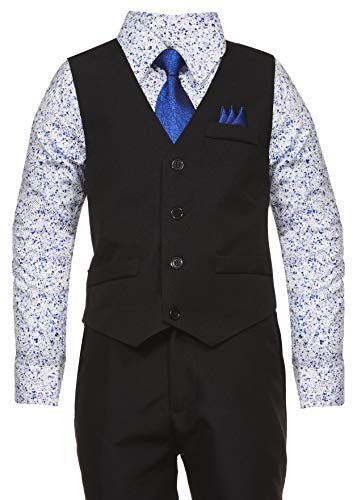 Vittorino Boys 4 Piece Holiday Suit Set with Vest Shirt Tie Pants and Hankerchief, Black/Blue/Floral, 18 -