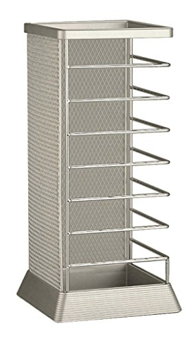 Stylish Square Umbrella Stand, Free Standing Storage Rack, Cane Walking Sticks Holder, Silver, 18-inch