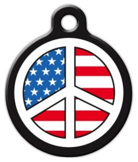 - USA Peace Sign - Custom Pet ID Tag for Dogs and Cats - Dog Tag Art - SMALL SIZE