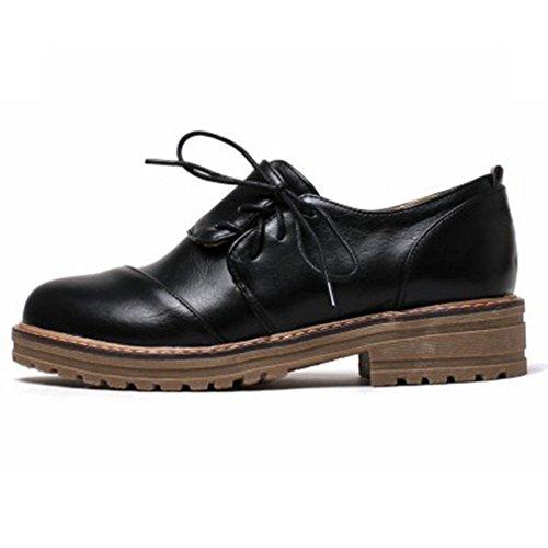 Hoxekle Womens Round Toes Scarpe Stile Britannico / Traforato / Pizzi / Cinghie Incrociate / Vintage Oxford Scarpe Basso Nero