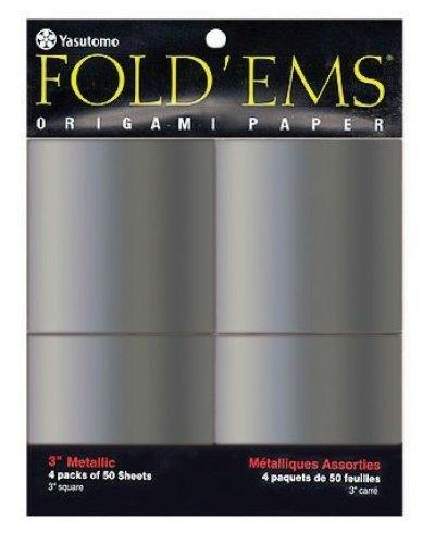 "Yasutomo Y&C Fold Ems Origami Paper 3"" Metallic Silver - Pack of 200 Sheets"