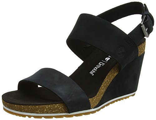 Timberland Capri Sunset Wedge, Ciabatte Donna Nero (Jet Black Naturebuck 015)