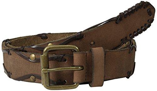[John Varvatos Men's 38mm Leather Belt with Harness Buckle, Chocolate, 34] (Leather Harness Buckle Belt)
