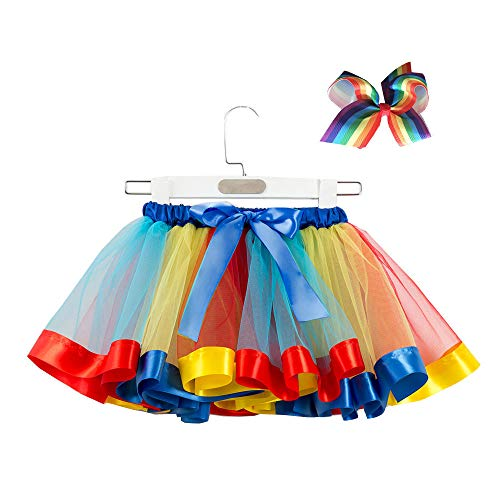 Lazzboy Girls Tutu Tulle Rainbow Ballet Skirt Princess for 3-10 Years Dress-up Costume Party with Bow Hair Clip Set