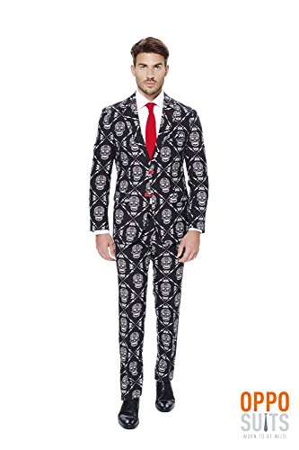 Do you want to scare the living daylight out of your friends or those annoying neighborhood kids during Halloween this black suit has a deadly design and is here to help you out with that. Top it off with your own skull.