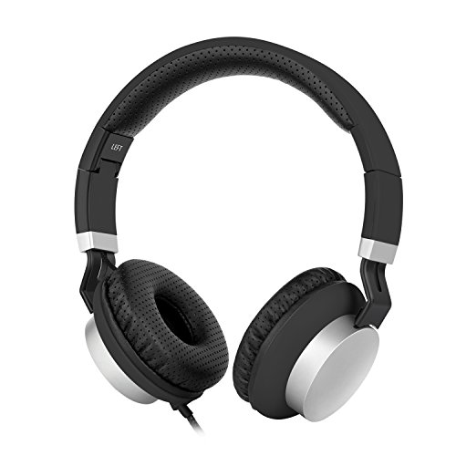 Gorsun High Definition Over-ear Stereo Headphones with Volume Control and Microphone - Black / Silver