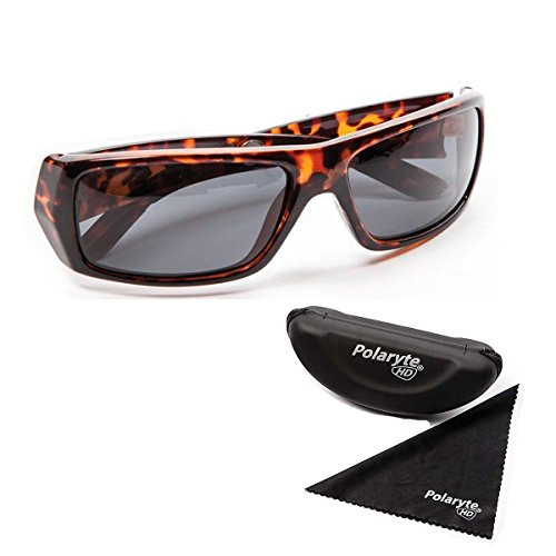 Polaryte HD Polarized Sunglasses for Men and Women, 1 Pair of Brown Sunglasses with Case and Cleaning ()