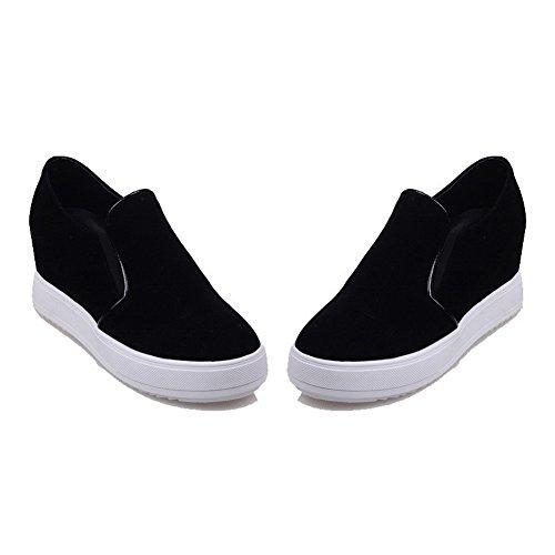 AllhqFashion Damen Rund Zehe Hoher Absatz Mattglasbirne Rein Ziehen auf Pumps Schuhe Schwarz