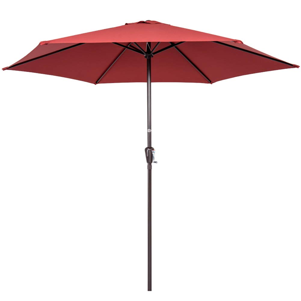 Sundale Outdoor 10FT Steel Patio Umbrella Table Market Umbrella with Crank Lift for Garden, Deck, Backyard, Pool, 6 Steel Ribs, 100 Polyester Canopy Brick Red