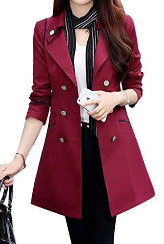 Double Breasted Long Sleeve Coat - 2