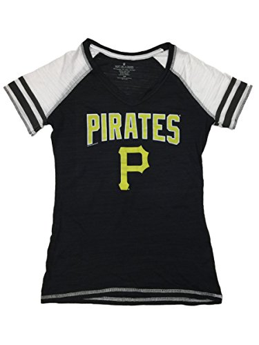 Soft As A Grape Pittsburgh Pirates SAAG Women Black Jersey Style SS V-Neck T-Shirt (S)