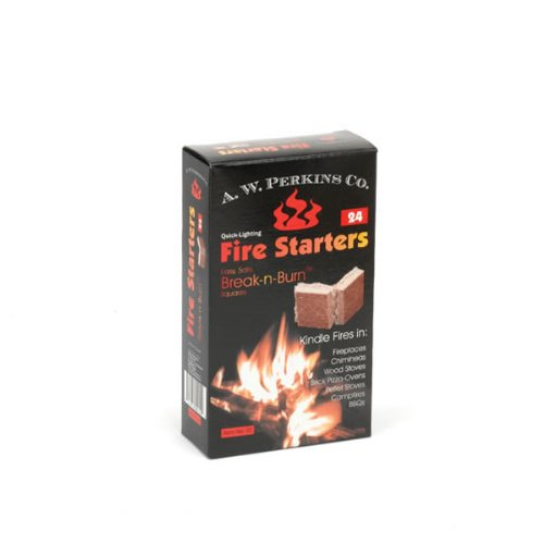 AW Perkins Break-n-Burn Fire starter Squares - 24 Squares Per Box (Hearth For Wood Brick Stove)