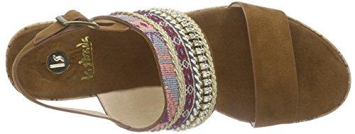 La Strada Tan Suede Look Sandal With Cork Wedge - Sandalias Mujer Marrón - Braun (2214 - micro tan)
