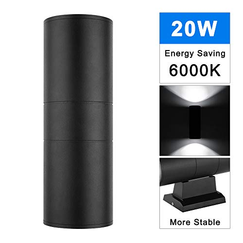 LED Cylinder Up Down Light, ALLOMN 20W Wall Sconce Lamp, Super Bright Waterproof LED Wall Mounted Lamp for Decoration on Door Way, Corridor, Garage, Indoor Outdoor Use