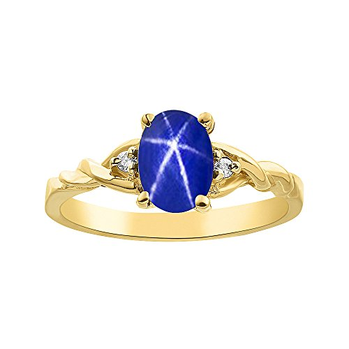 Diamond & Blue Star Sapphire Ring Set In Yellow Gold Plated Silver Solitaire