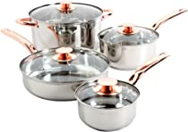Sunbeam Ansonville 8-Piece Cookware Set, Silver/Copper