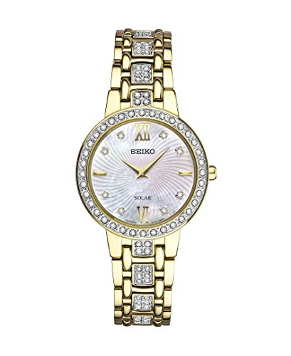 (Seiko Women's Ladies Crystal Dress Japanese-Quartz Watch with Stainless-Steel Strap, Gold, 14 (Model: SUP364)