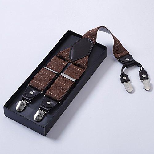 4 with Elastic Heavy back white Braces spot URSFUR Clips Y Mens Camel Duty Suspenders YqHnB