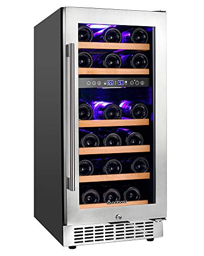 【Upgraded】Aobosi 15'' Wine Cooler Dual Zone 28 Bottle Freestanding and Built-in Wine Refrigerator with Stainless Steel Tempered Glass Door & Temp Memory Function, Blue LED Light, Fit Champagne Bottle