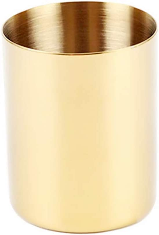 Gold Pen Holder Cup Pencil Pot Cosmetic Brushes Holder 3mm Dual-Layer Super Thick Golden Makeup Brush Holders Flower Vase for Office Home Desk Accessories Organizer (Gold)