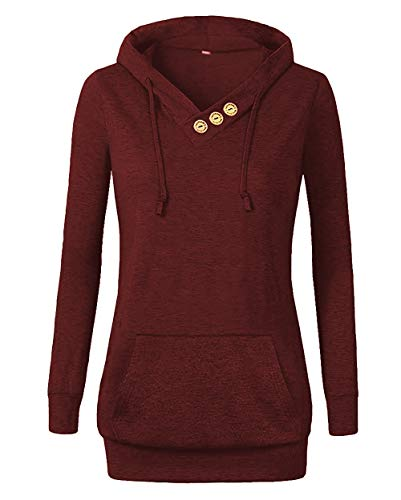 Othyroce Women's Long Sleeve Button V-Neck Pockets Sweatshirts Pullover Hoodies Burgundy S
