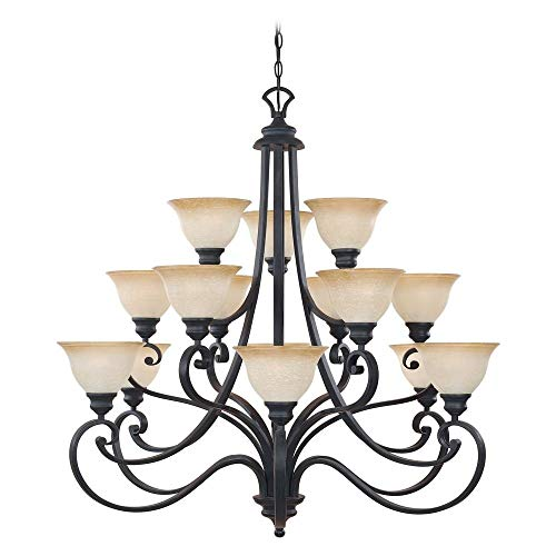 Designers Fountain 961815-NI Barcelona 15-Light Chandelier, 40.25 x 39.5 , Natural Iron
