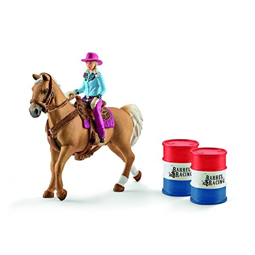 Schleich North America Barrel Racing with Cowgirl (Cowgirl Barrel)