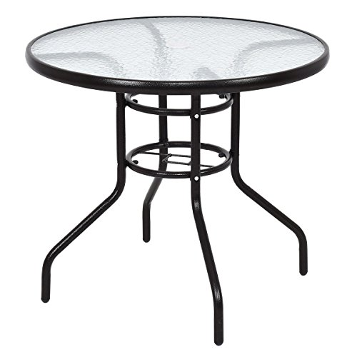 TANGKULA Patio Table 31.5'' Tempered Glass Top Metal Frame Outdoor Garden Poolside Balcony Dining Bistro Table (Round) by TANGKULA