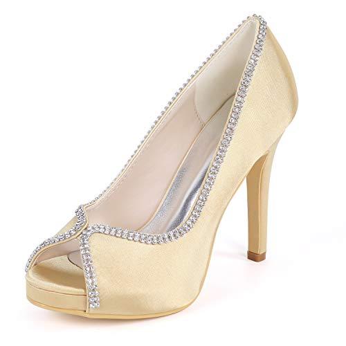 Zapatos Para Gold Tacones Fiesta 35 yc Flor Tamaño 42 Encaje L satén Estrás Altos Boda Piedras Mujer De 5xfTHIq