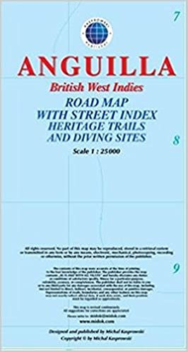 Anguilla, British West Indies, Road Map with Street Index, Heritage ...