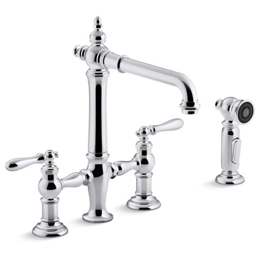 Kohler K-76519-4-CP Artifacts Deck-Mount Bridge Kitchen Sink Faucet with Lever Handles and Sidespray