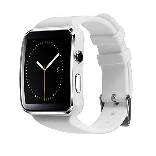 Mgaolo X6 Smart Watch Smartwatch Bluetooth Sweatproof Touchscreen Phone with Camera TF/SIM Card Slot for Android and iPhone Smartphones for Kids Girls Boys Men Women (White)