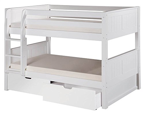 Camaflexi Panel Style Solid Wood Low Bunk Bed with Drawers, Twin-Over-Twin, Side Attached Ladder, White - Bunk Panel