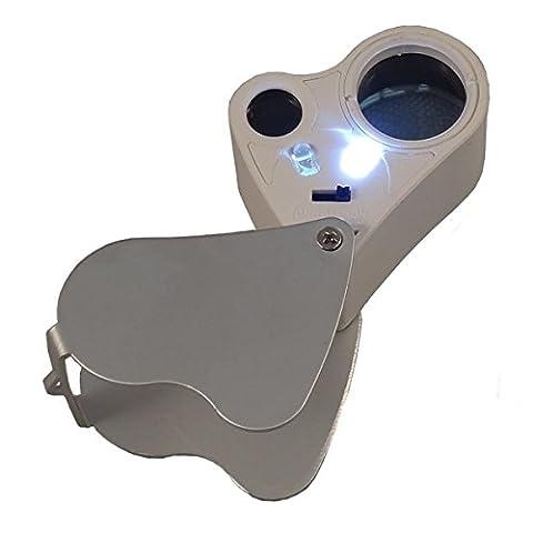 30X 60X LED Foldable Compact Magnifier Jeweler Mini Loupe (Binocular 60x)