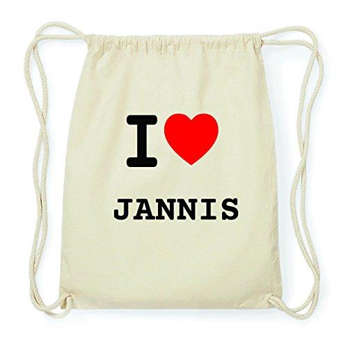 JOllify JANNIS Hipster Turnbeutel Tasche Rucksack aus Baumwolle - Farbe: natur Design: I love- Ich liebe 8bAN7aJ5x