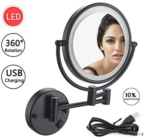 Amazon Com Wall Mount Vanity Mirror Oil Rubbed Bronze Led Lighted Wall Mount Makeup Mirror With 10x Magnification Bathroom Magnifying Mirror 8 Inch Double Sided 360 Swivel Extendable Usb Rechargeable