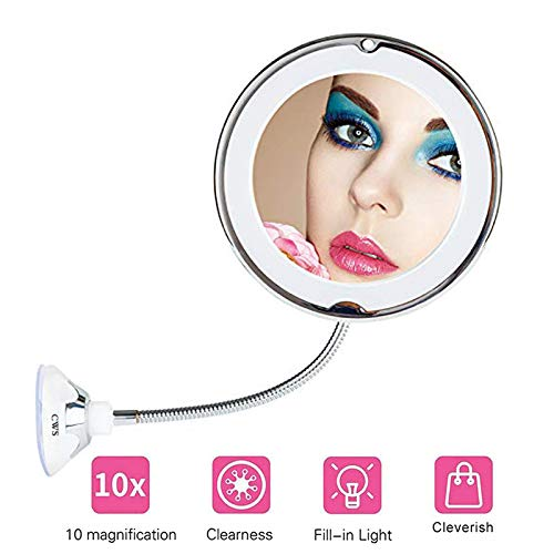 8INCH LED Lighted Makeup Mirror,10X Magnifying Flexible Gooseneck Cosmetic Mirror,Bright Diffused Light -