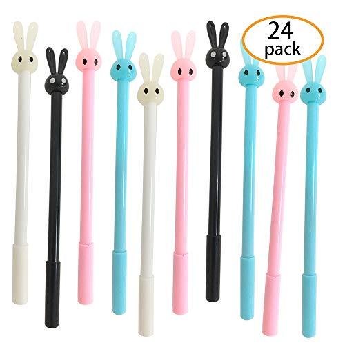 - Hapy Shop 24 Pack Cute Bunny Rabbit Gel Ink Pens 0.38mm Black Ball Point Pens Creative Gifts for Office School Student Supplies