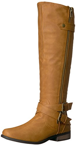Rampage Women's Hansel Zipper and Buckle Knee-High Riding Boot,Cognac Sn Cognac Smooth,9 B(M) US Regular Calf