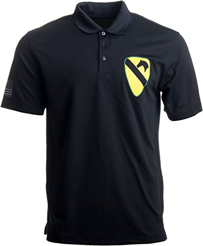 Ann Arbor T-shirt Co. 1st Cavalry Division Polo w/Sleeve Flag | U.S. Army Cav Veteran Collared Shirt-(Polo,M) (1st Cav T-shirts)