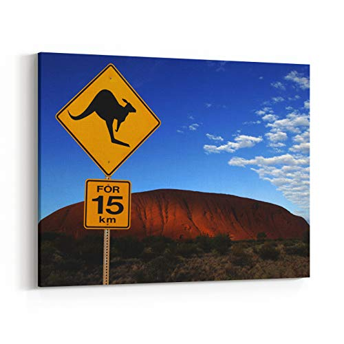 Sign Kangaroo Road (Rosenberry Rooms Canvas Wall Art Prints - Danger Kangaroo Road Sign Near Ayers Rock in The Northern Territory of Australia Aboriginal Name Uluru It is A UNESCO World Heritage Site (30 x 20 inches))